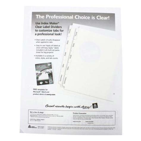 avery 11110 template avery 5 tab clear dividers buff paper worksaver big tab