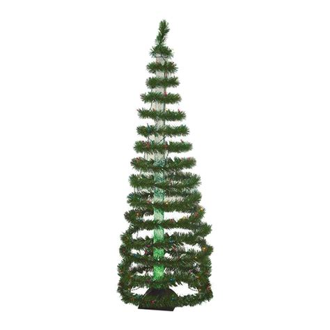 shop christmas central 6 ft pre lit spiral tinsel