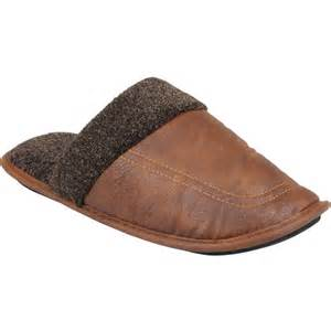 Mens Leather Bedroom Slippers Daxx Mens Faux Leather Scuff Slippers Shoes Walmart Com