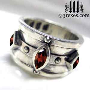 Moorish Medieval Gothic Silver Ring   3 Rexes Jewelry