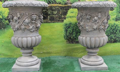 unique outdoor planters urn planters set of 2 giant old world scroll design cast stone concrete outdoor garden urn