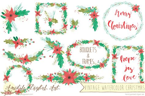 Vintage Watercolor Christmas Bouquets & Frames Mega Pack