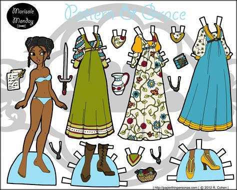 Friends Paper Dolls - marisole monday pattern grace color paper thin
