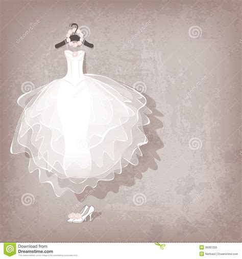 Wedding Gown Background wedding dress on grungy background stock vector