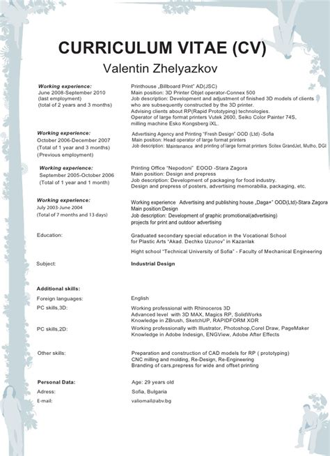resume or cv sle curriculum vitae work experience sle 28 images 8 cv