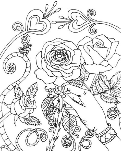 malocchio evil eye rose coloring page digital coloring book