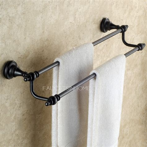 oil rubbed bronze towel bars for bathrooms antique black oil rubbed bronze bathroom double towel bars