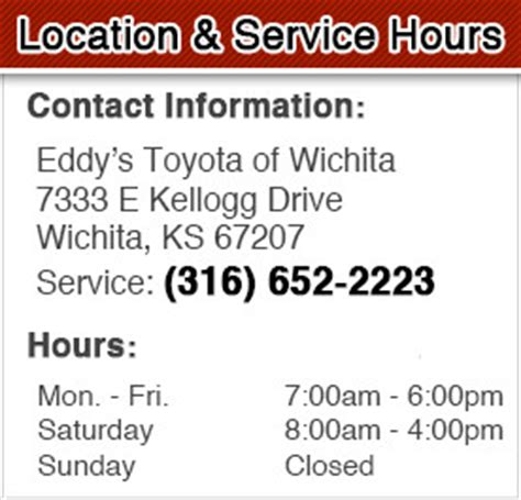 toyota dealership hours of operation oil change service special coupon wichita dodge city