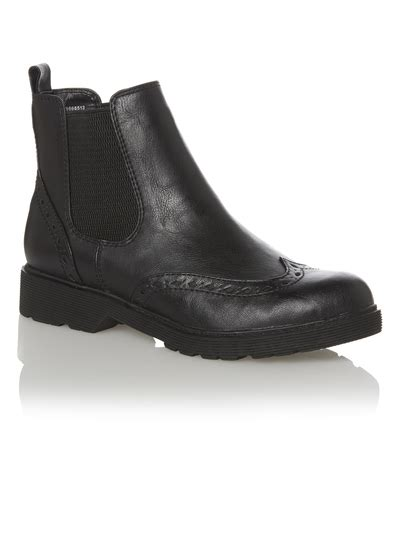 sainsburys shoes womens black cleated sole chelsea brogue boot tu clothing