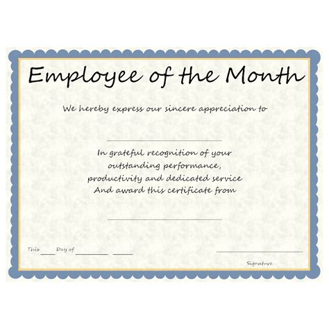 Employee Of The Month Certificate Template With Picture by Employee Of The Month Award