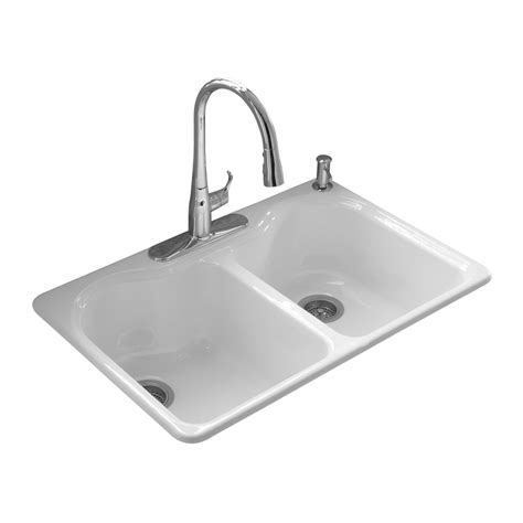 kohler drop in kitchen sinks shop kohler hartland 22 in x 33 in white double basin cast