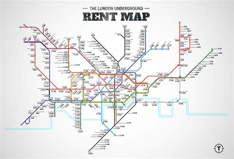 cost of rent this tube map shows the average rent costs near every