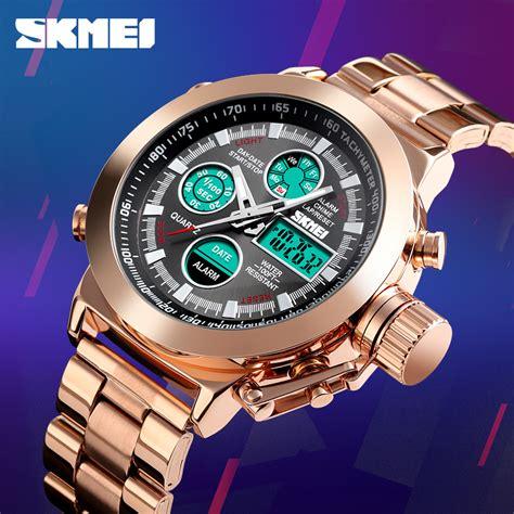 skmei jam tangan analog chrono pria stainless steel strap