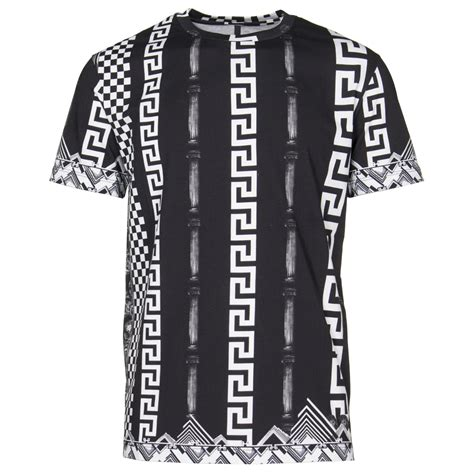 Greek Pattern T Shirt | versus versace t shirts greek pattern tee in black