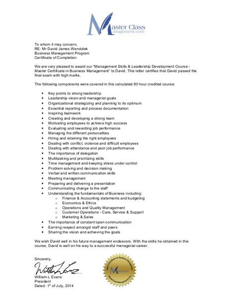 certification recommendation letter certification reference letter mr david wendolek