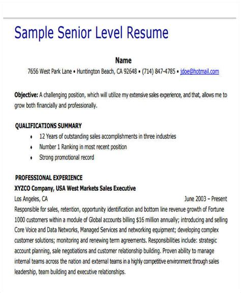 Senior Level Resume Templates by 25 Executive Resumes In Pdf Sle Templates