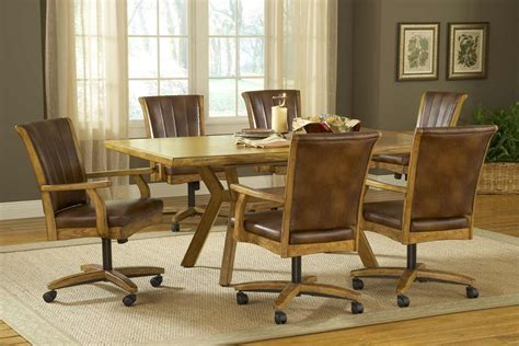 kitchen tables and chairs with wheels rustic leather kitchen dining chairs set for 6 with wheels