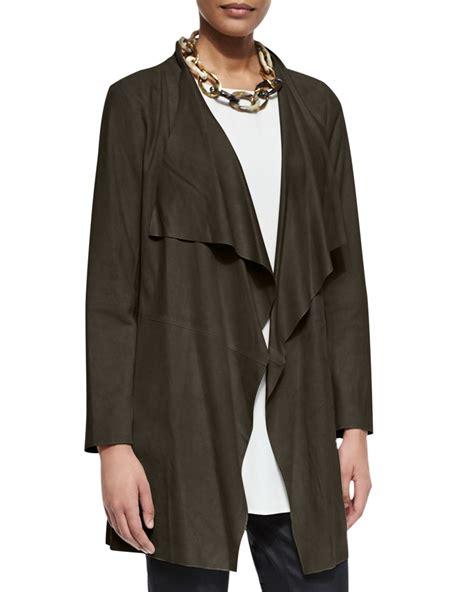 draped suede jacket eileen fisher draped suede jacket in green lyst