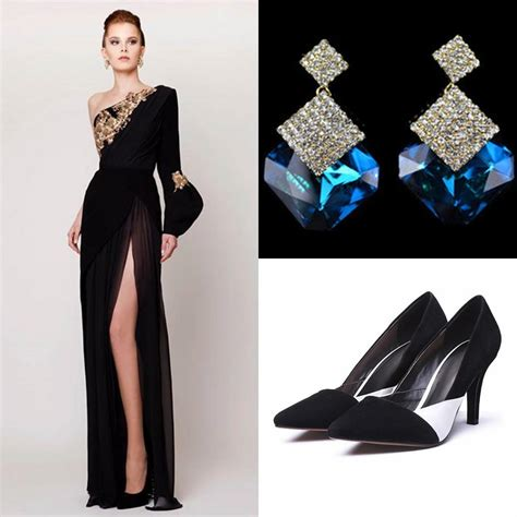 2015 prom dresses with earrings with shoes split side azzi