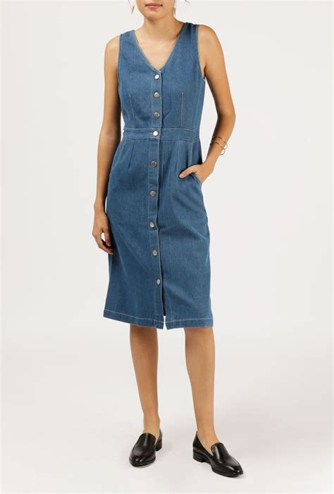 Denim For Sale by Sleeveless Button Denim Dress By Azalea For Sale At