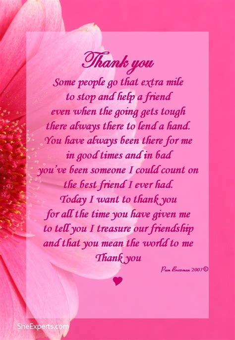 thank you letter friend quotes 25 best ideas about thank you poems on i