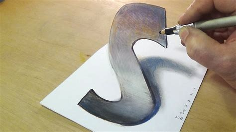 S Drawing 3d by Trick Drawing How To Draw 3d Letter S Anamorphic