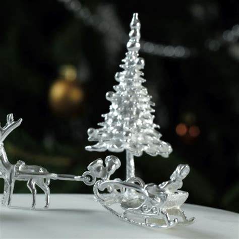 large fir tree sterling silver christmas cake tree
