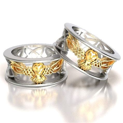 celtic wedding ring set his and gold owl rings
