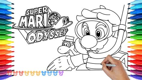 coloring pages mario odyssey how to draw mario odyssey diving mario 21 drawing