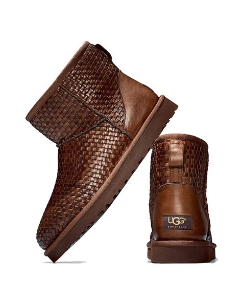 woven boots ugg woven leather mini boot in brown lyst