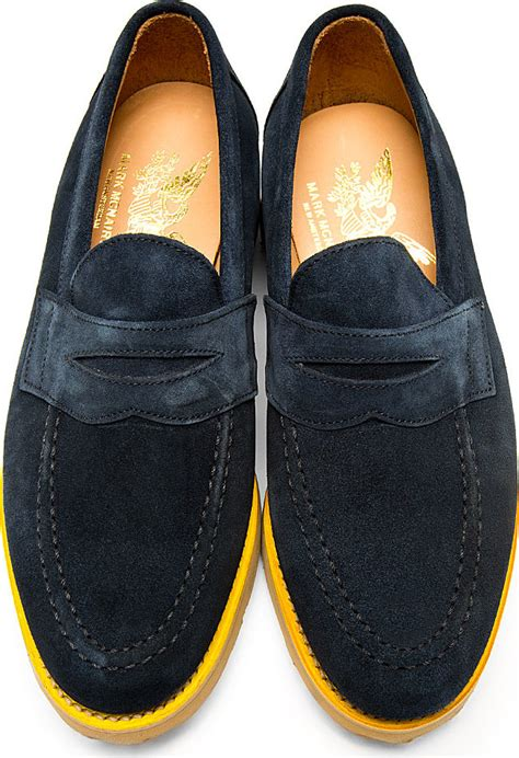 mcnairy loafers mcnairy new amsterdam navy suede loafers in