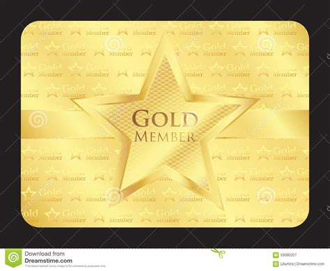 gold membership card template gold member club card with big stock vector image