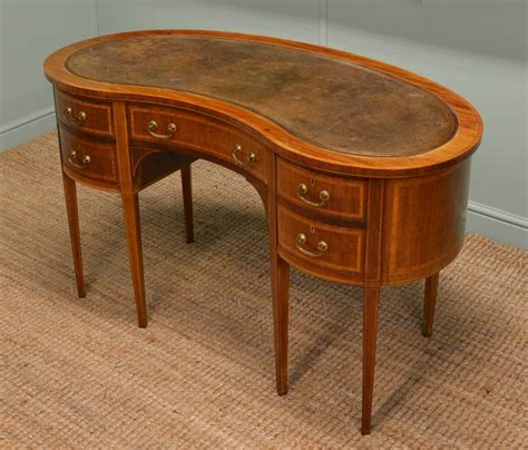 Kidney Shaped Desk Antique Quality Edwardian Inlaid Mahogany Antique Kidney Shaped Desk Antiques World