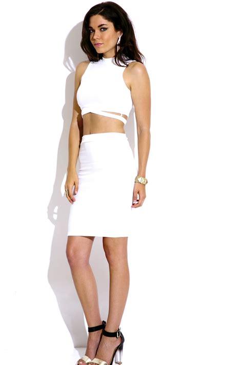 bright white crisscross crop top bodycon midi skirt two