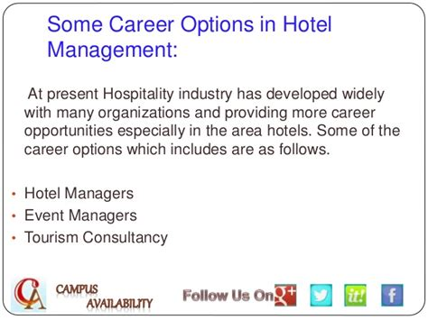 Career Opportunities Mba Hospitality Management by Career Options For Hotel Management