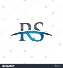 rs initial company blue swoosh logo stock vector