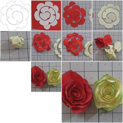 Paper Flower Steps - how to make simple paper roses flowers step by step diy