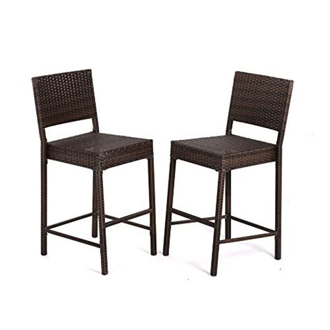 bar stool outdoor furniture 2 pcs outdoor wicker barstool all weather brown patio