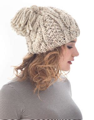 knit hat pattern thick yarn lion brand 174 wool ease 174 thick quick 174 cabled tassel hat