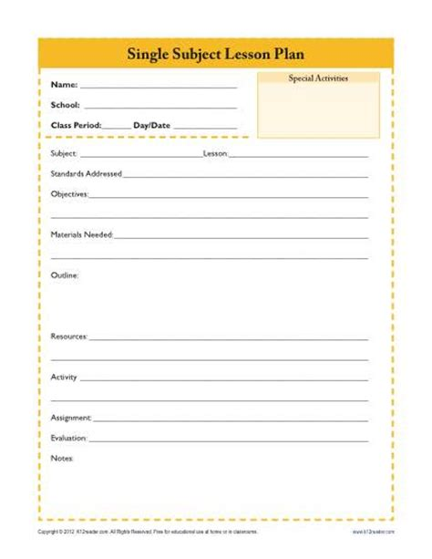 subject lesson plan template daily single subject lesson plan template secondary