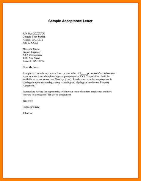 Acceptance Letter Letter Template 4 Exle Of Acceptance Letter Target Cashier