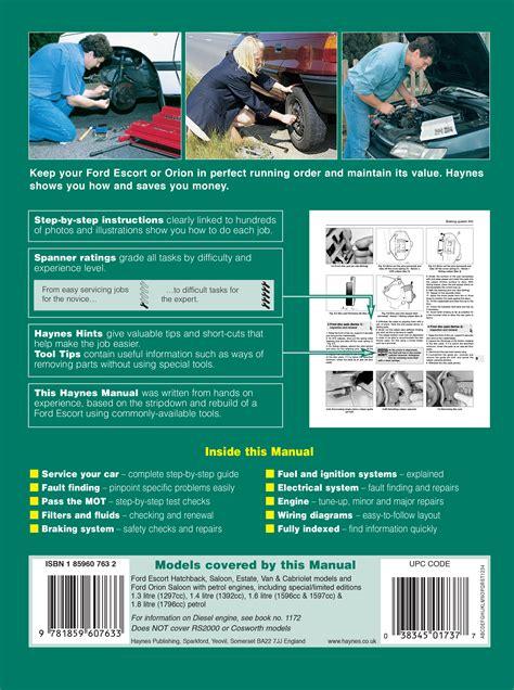 ford escort orion petrol sept 90 00 h to x haynes publishing ford escort orion petrol sept 90 00 haynes repair manual haynes publishing