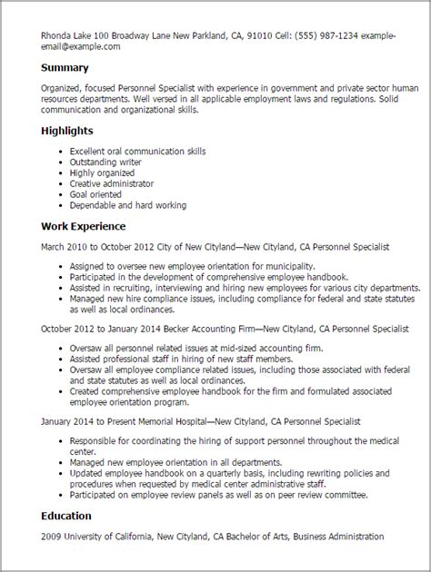 Personnel Specialist Cover Letter by Professional Personnel Specialist Templates To Showcase Your Talent Myperfectresume