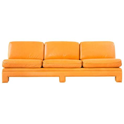 Orange Sofas For Sale by Milo Baughman Chinoiserie Armless Sofa In Tangerine Orange