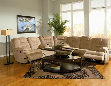 Microfiber Reclining Sectional Sofa Modern Microfiber Reclining Sectional Sofa 600351 Mocha