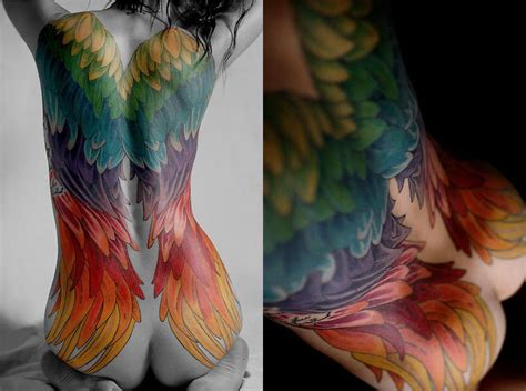 coloured angel tattoo beautiful angel wings tattoo hair nails ink