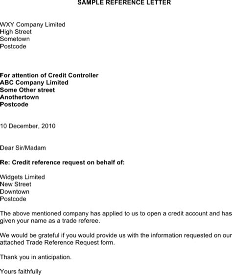 Positive Credit Reference Letter Sle sle credit reference letter templates for free