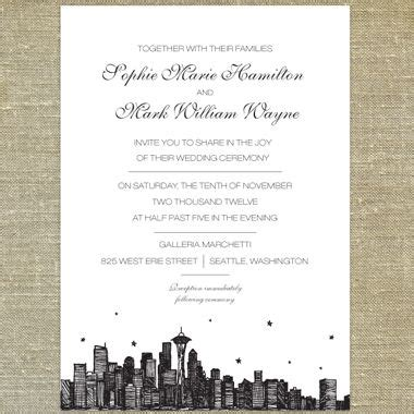 Wedding Invitations Seattle by Seattle Skyline Wedding Invitations Pixie Chicago