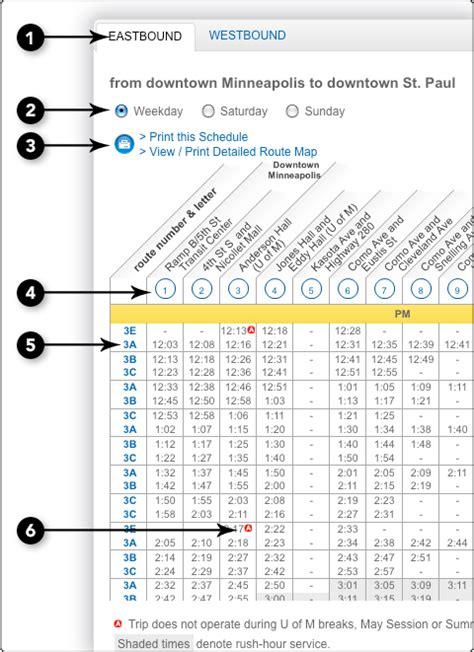 Metro Light Rail Schedule by Reading A Schedule Metro Transit