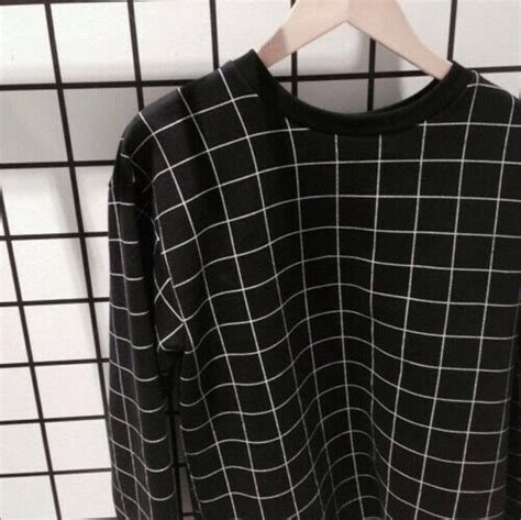 Sweater: black and white, grid, sweatshirt, jacket